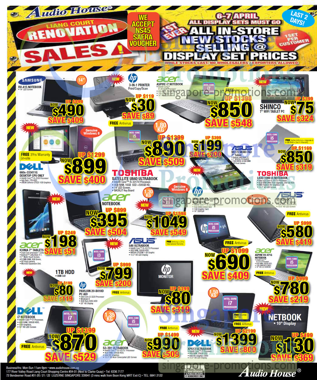 Samsung RV-415 Notebook, Dell Inspiron 660s-333411G Desktop PC, Dell XPS 13 Ultrabook Notebook, Acer S3-391 Ultrabook Notebook, Acer ASPIRE V3-471G Notebook, Asus ME172 MEMOPAD Tablet, HP PAVILION G4-2009TX Notebook, TOSHIBA L830-1000 Notebook