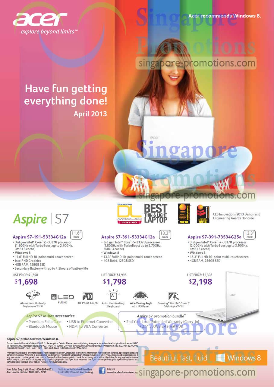 Acer Aspire S7-191-53334G12a Notebook, Acer Aspire S7-391-53334G12a Notebook, Acer Aspire S7-391-73534G25a Notebook
