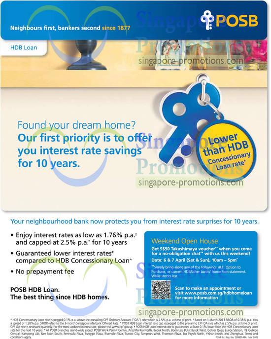 POSB New HDB Loan Featuring 1.76% Interest Rate 1 Apr 2013