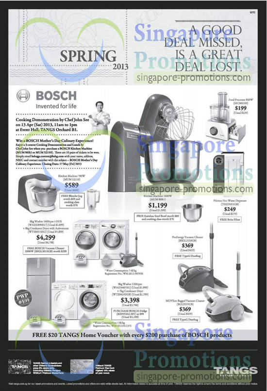 tangs bosch home appliances offers 12 apr 2013. Black Bedroom Furniture Sets. Home Design Ideas
