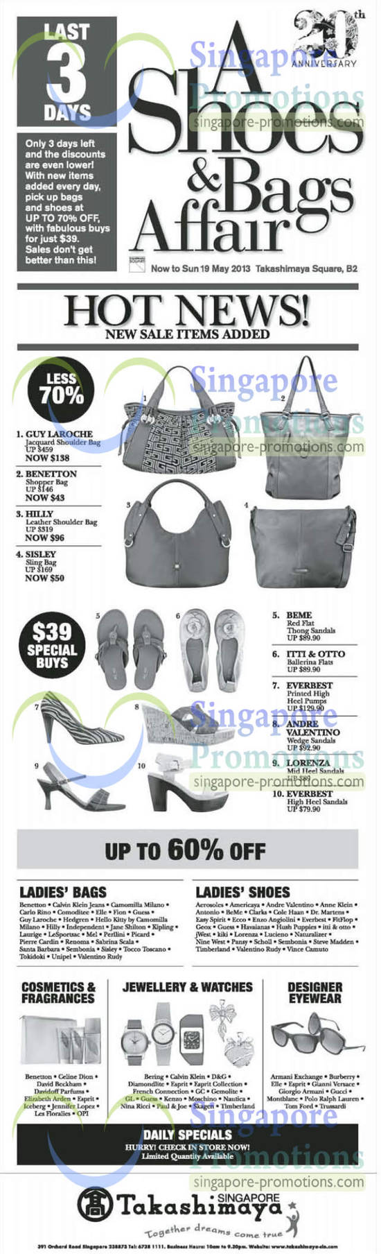 17 May Handbags, Sandals, Guy Laroche, Benetoon, Hilly, Sisley, Beme, Itto & Otto, Everbest, Lorenza