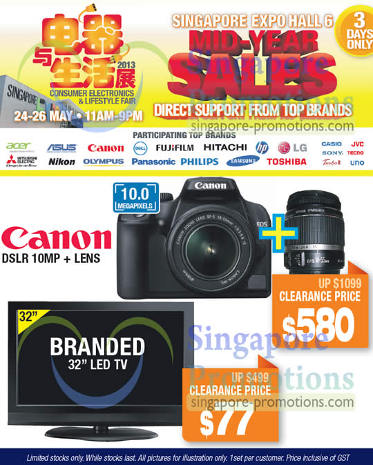 20 May Canon DSLR 10MP Digital Camera, Branded 32 LCD TV