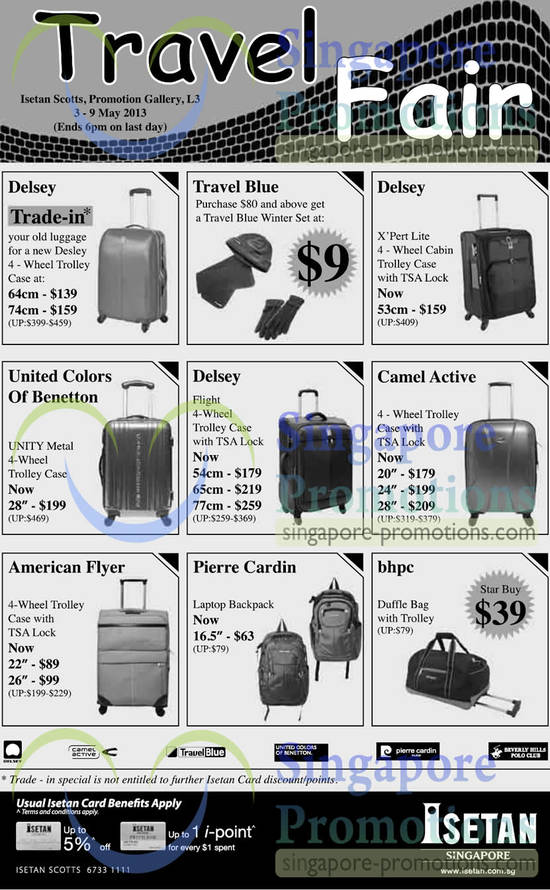 3 May Luggages Delsey, Travel Blue, Camel Active, Bhpc, Pierre Cardin, American Flyer