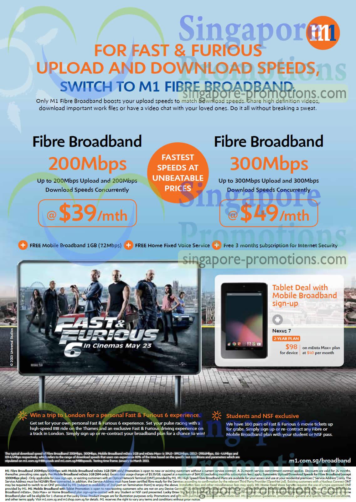 39.90 200Mbps Fibre Broadband, 49.00 300Mbps, Nexus 7