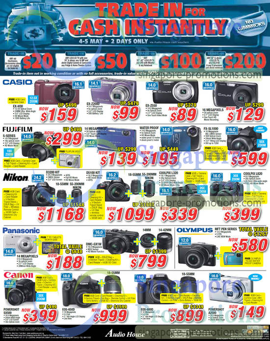 Casio EX-H30 Digital Camera, Casio EX-Z2000 Digital Camera, Casio EX-Z550 Digital Camera, Nikon Coolpix L320 Digital Camera, Nikon Coolpix L820 Digital Camera, Canon Powershot SX500 Digital Camera, Canon EOS 650D DSLR Digital Camera, Canon Powershot A2500 Digital Camera