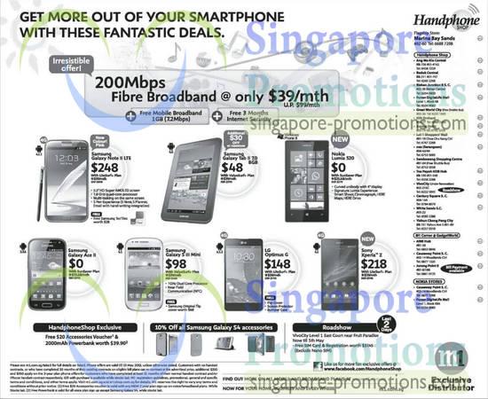 Handphone Shop Samsung Galaxy Note II LTE, Samsung Galaxy Tab 2 7.0, Samsung Galaxy Ace 2, Samsung Galaxy S III Mini, LG Optimus G, Sony Xperia Z, Nokia Lumia 520