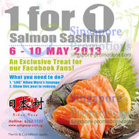 Read more about Nihon Mura 1 For 1 Salmon Sashimi Coupon 6 - 10 May 2013