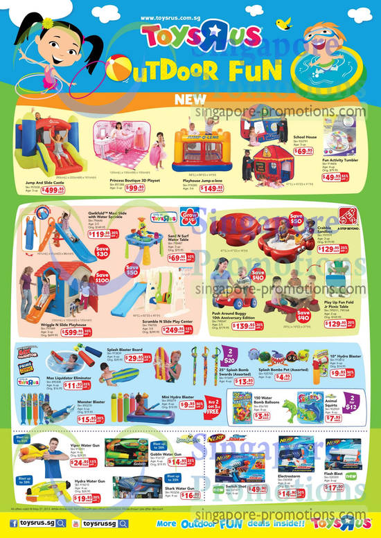 Princess Boutique 3D Playset, Playhouse Jump-o-lene, Grow 'n Up Qwikfold Maxi Slide with Water Sprinkle, Grow 'n Up Sand N Surf Water Table, Grow 'n Up Wriggle N Slide Playhouse, Grow 'n Up Scramble N Slide Play Center, Step 2 Crabbie Sandbox, Step 2 Push Around Buggy 10th Anniversary Edition and Step 2 Play Up Fun Fold Jr Picnic Table