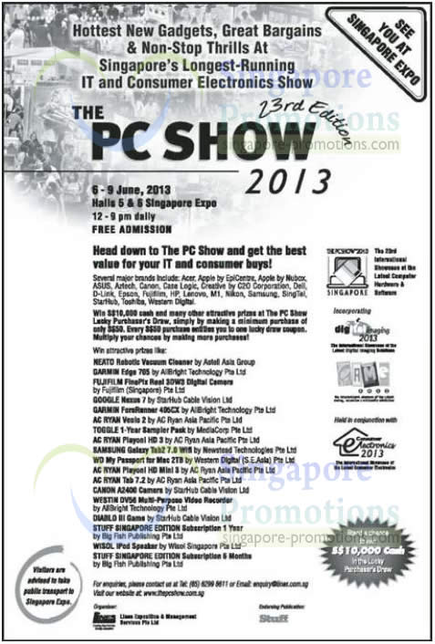 PC SHOW 2013 Dates, Time, Venues, Lucky Draw, Prizes