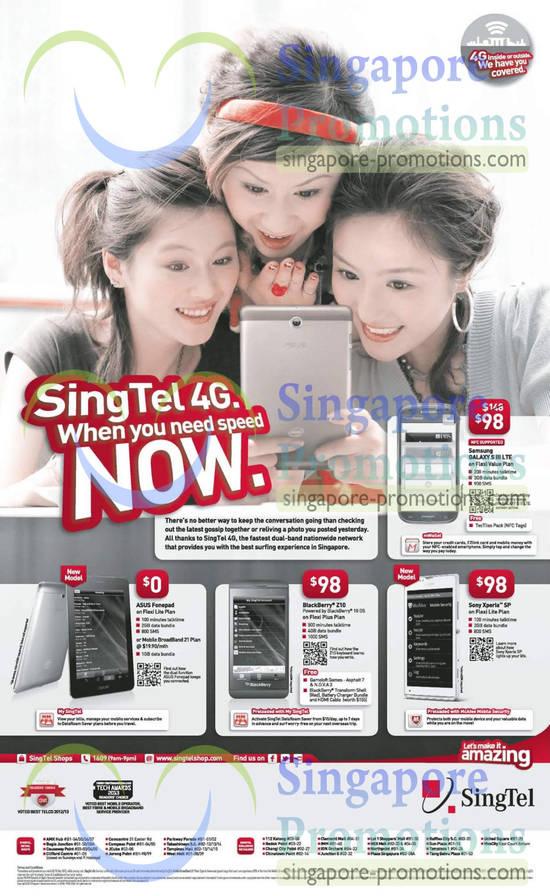 Samsung Galaxy S III LTE, Asus Fonepad, Blackberry Z10, Sony Xperia SP