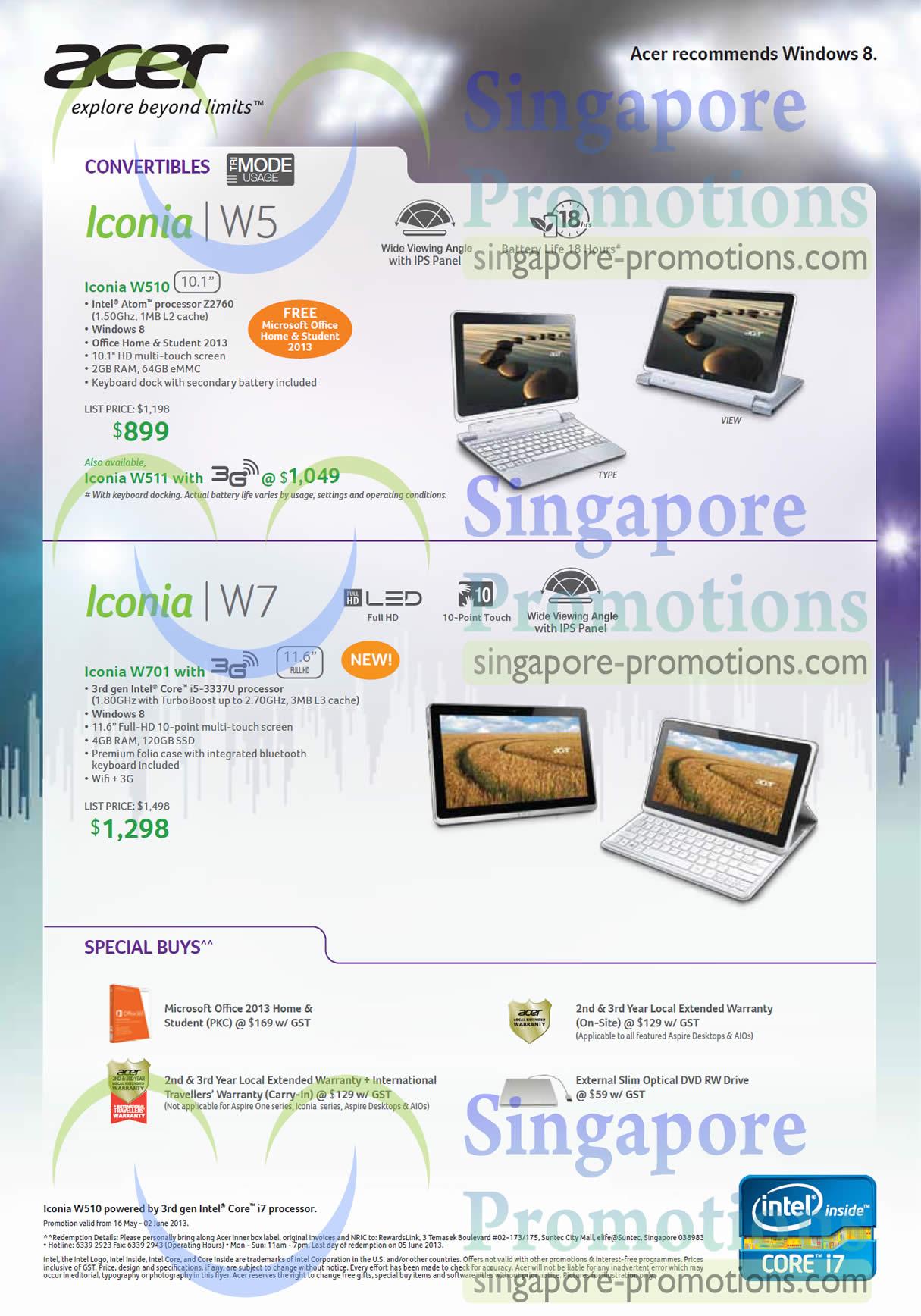 Tablets Iconia W510, W701