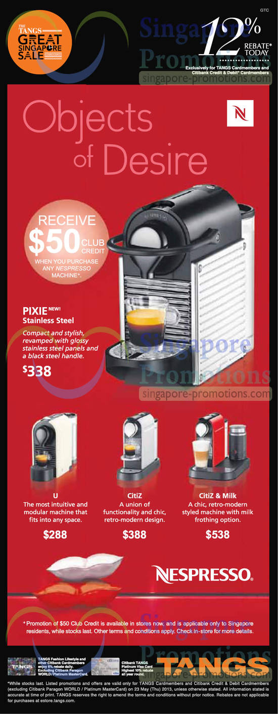 tangs nespresso coffee machines offers 23 may 2013. Black Bedroom Furniture Sets. Home Design Ideas