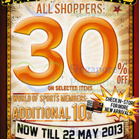Read more about World of Sports 30% Off Selected Items Promo 9 - 22 May 2013