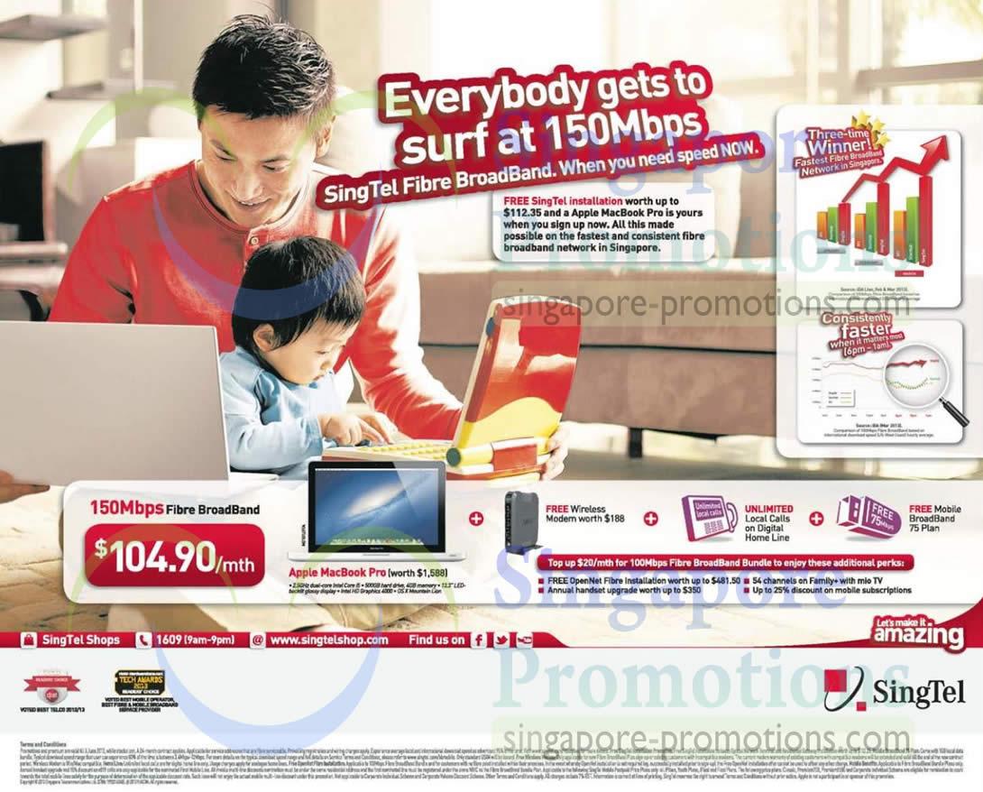 150Mbps Fibre Broadband, Free Apple Macbook, Wireless Modem, Unlimited Local Calls, Mobile Broadband