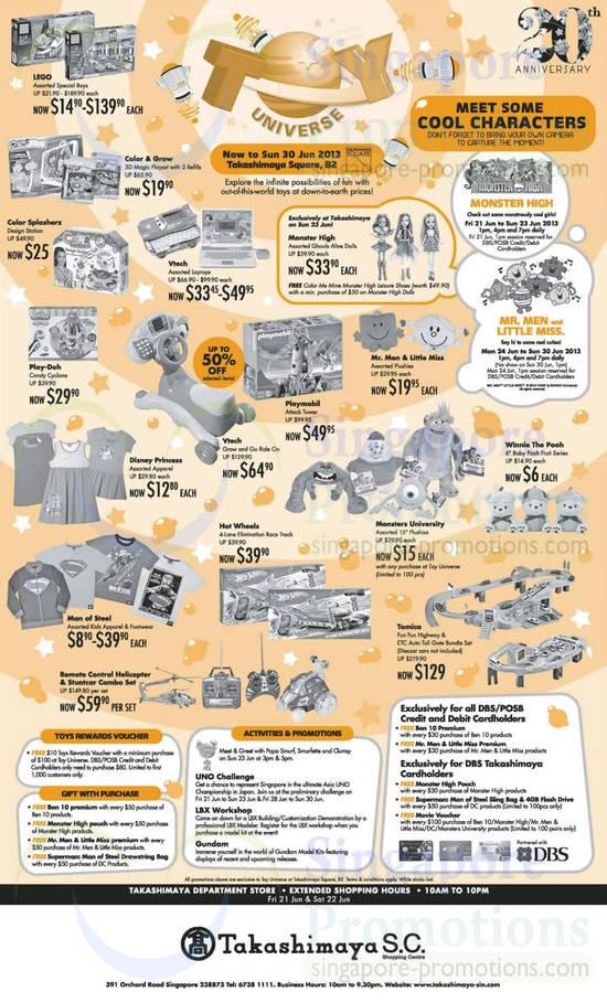 21 Jun Toys, Kids Apparel, Play-Doh, Disney Princess, Vtech, Playmobil, Hot Wheels, Man of Steel, Monsters University, Tomica, Winnie the Pooh