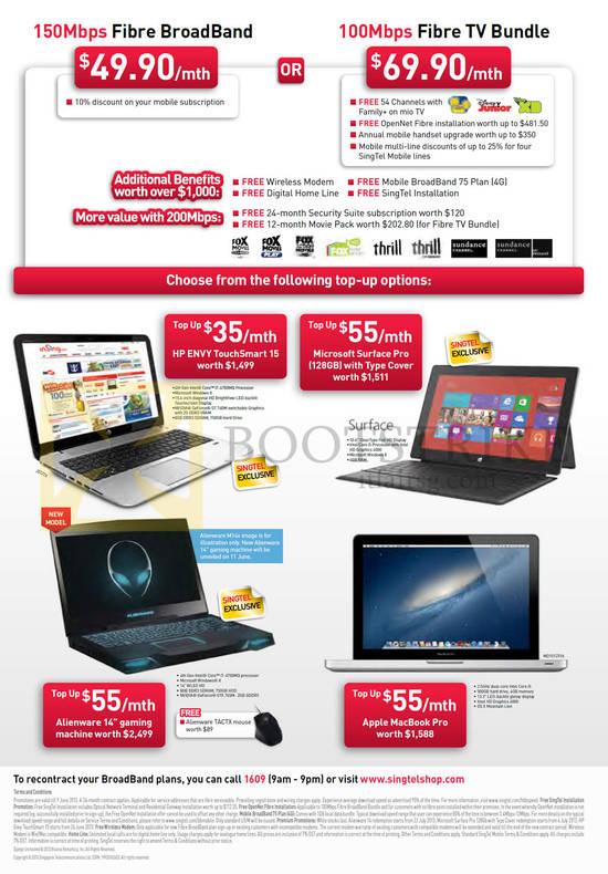 Broadband Fibre 49.90 150Mbps, 69.90 100Mbps Fibre TV Bundle, HP Envy TouchSmart 15 Notebook, Microsoft Surface Pro, Dell Alienware M14x, Apple Macbook Pro
