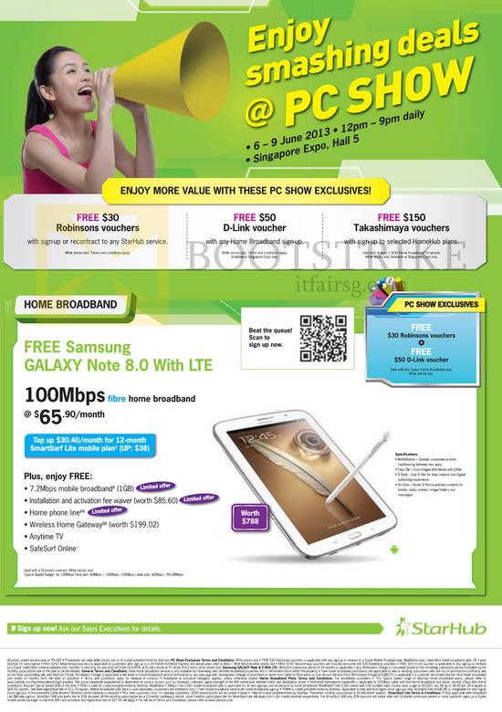 Exclusives Free Robinsons Vouchers, D-Link Voucher, Takashimaya, 100Mbps Fibre Broadband 65.90 Samsung Galaxy Note 8.0
