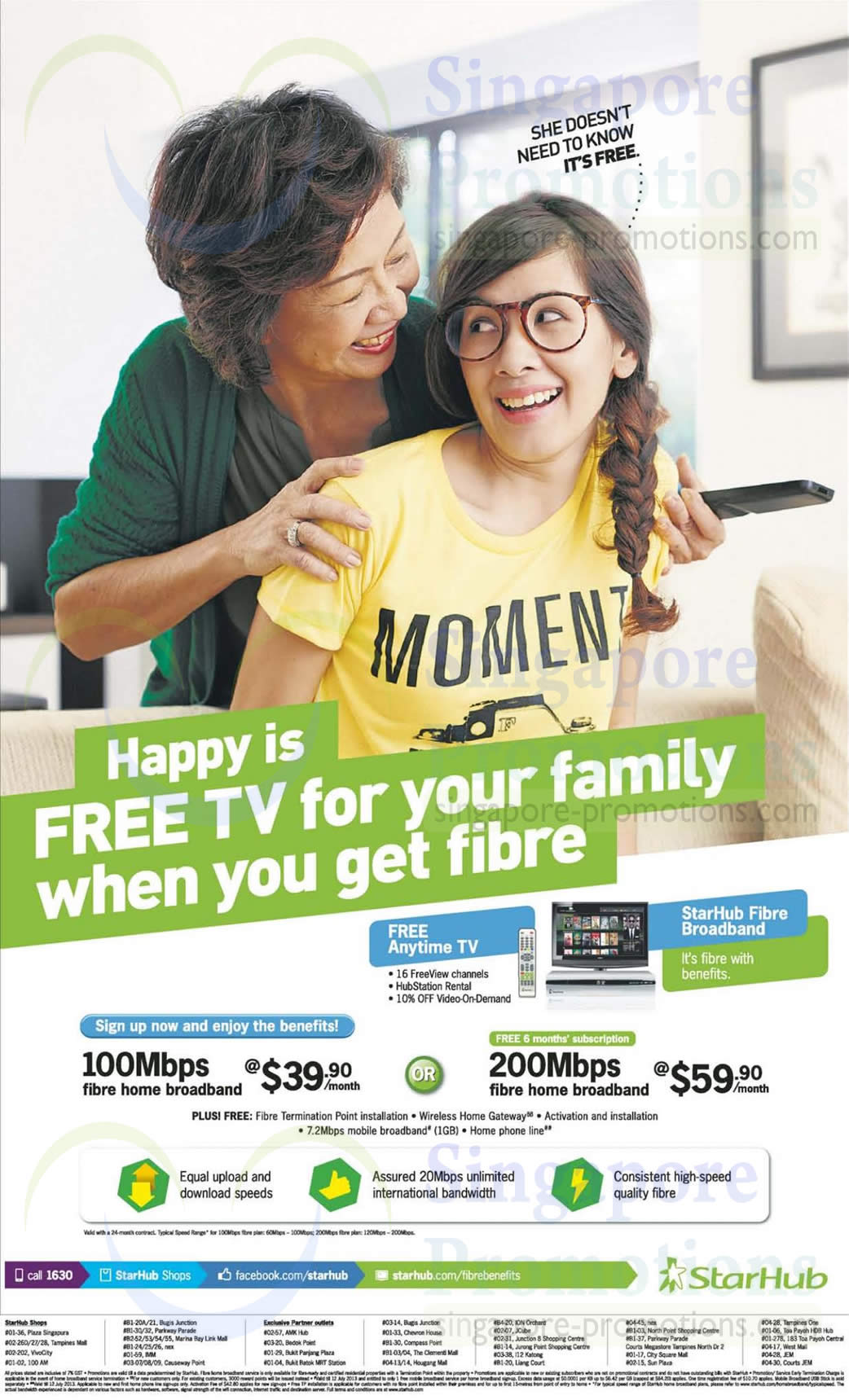 Fibre Broadband 100Mbps, 200Mbps, Free Cable TV, Anytime TV