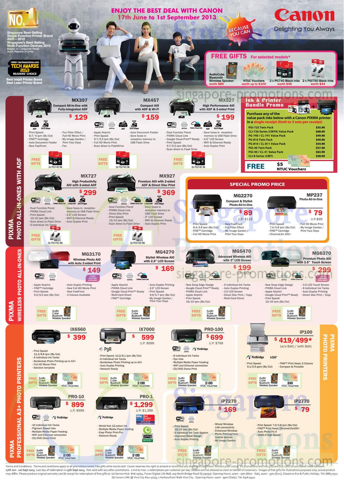 Inkjet Printers MX397, MX457, MX527, MX727, MX927, MG3170, MG4270, MG5470, MG6370, IX6560, IX7000, Pro-100, IP100, Pro-10, Pro-1, IP7270, IP2770