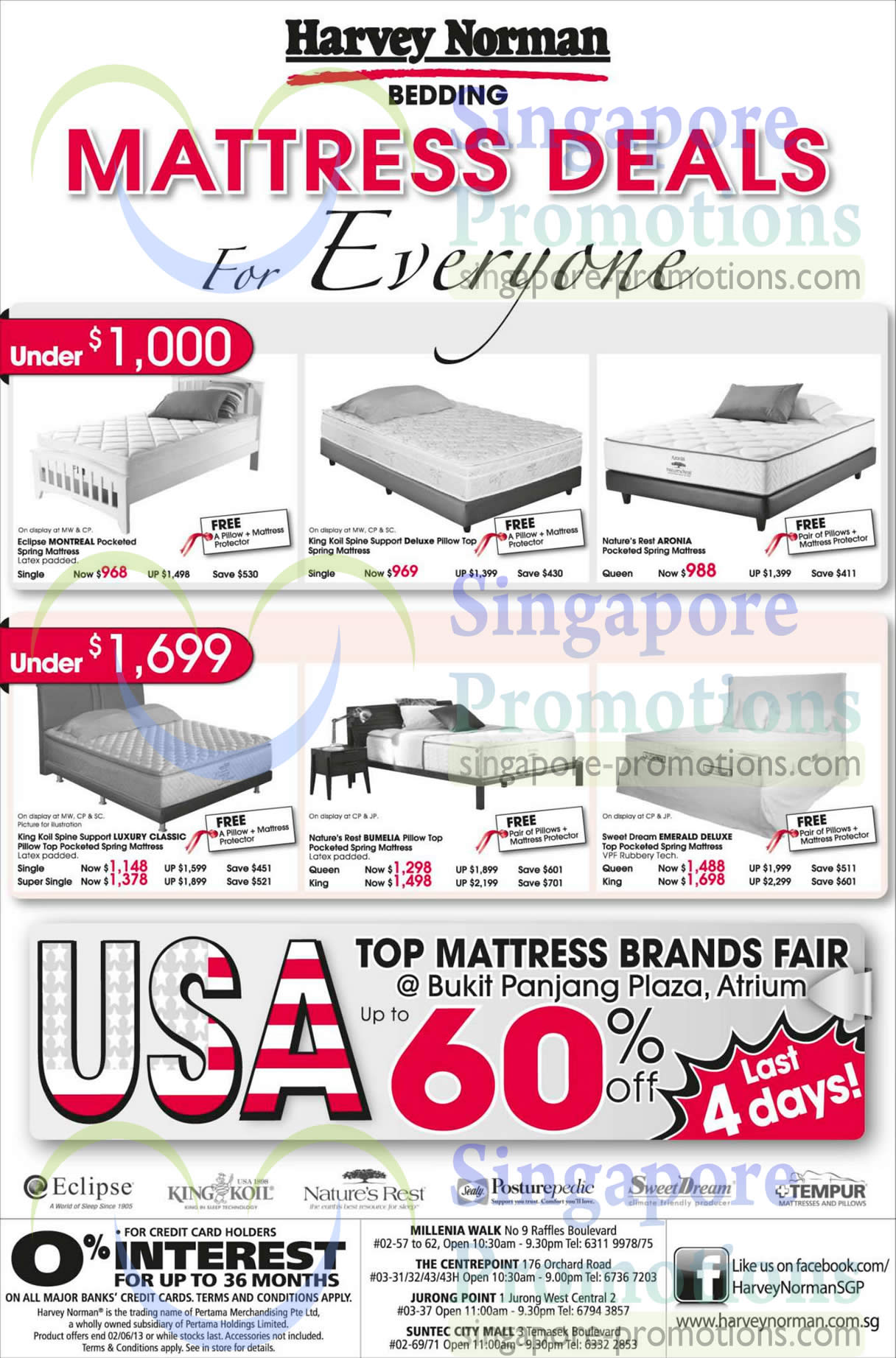 Eclipse Montreal Mattress, King Koil Spine Support Deluxe Mattress, Nature's Rest Aronia Mattress, King Koil Spine Support Luxury Classic Mattress, Nature's Rest Bumelia Mattress and Sweet Dream Emerald Deluxe Mattress