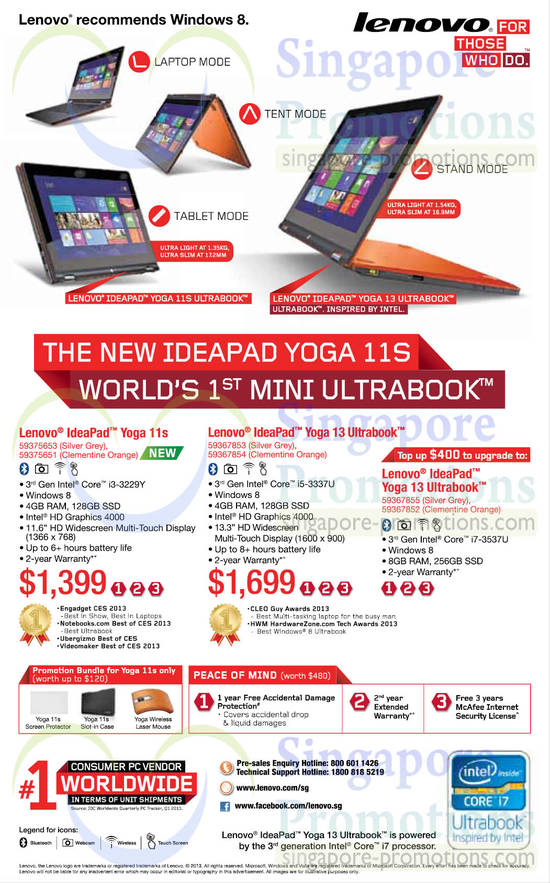 Lenovo IdeaPad Yoga 11s Notebook, Lenovo IdeaPad Yoga 13 Notebook