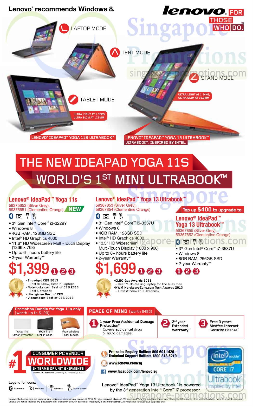Lenovo IdeaPad Yoga 11s Notebook, Lenovo IdeaPad Yoga 13 Notebook