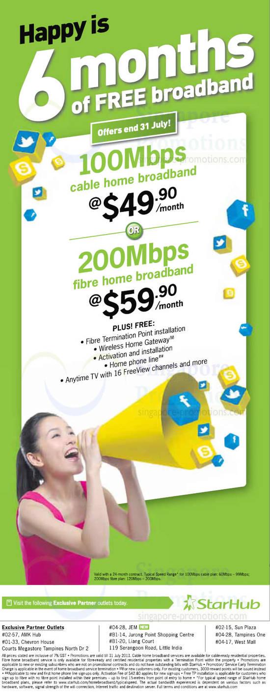 100Mbps Fibre Broadband, 200mbps, Free 6 Months Till 31 July
