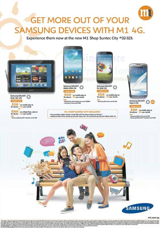 Samsung Galaxy Note 10.1 LTE, Samsung Galaxy Mega, Samsung Galaxy S4, Samsung Galaxy Note II LTE
