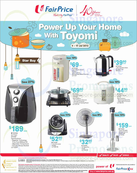 Toyomi AF6969 Air Fryer, Toyomi EPA424 Airpot, Toyomi IH09V03 Induction Cooker, Toyomi WK1516 Jug, Toyomi RC796 Rice Cooker, Toyomi PF5282 Air Circulator, Toyomi TF128 Fan and Toyomi TW8311BR Fan