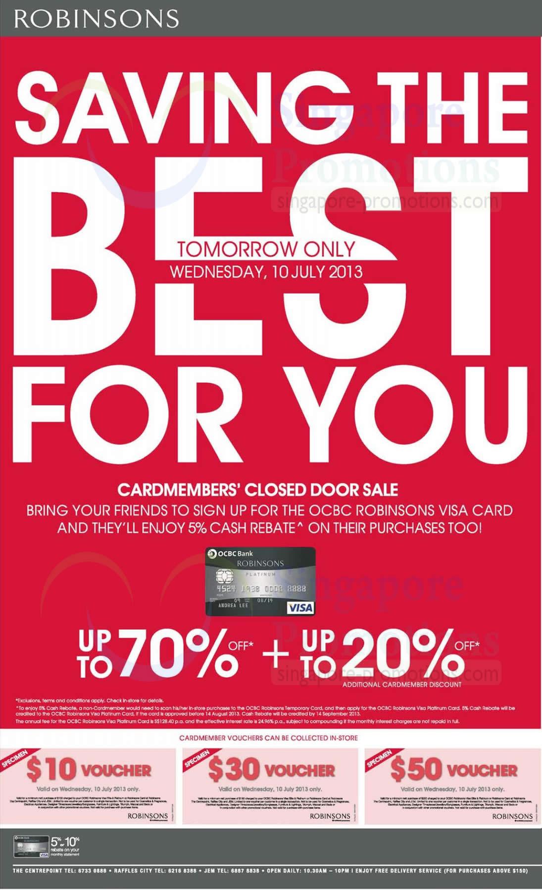 Wednesday Cardmember Special, Closed Door Sale