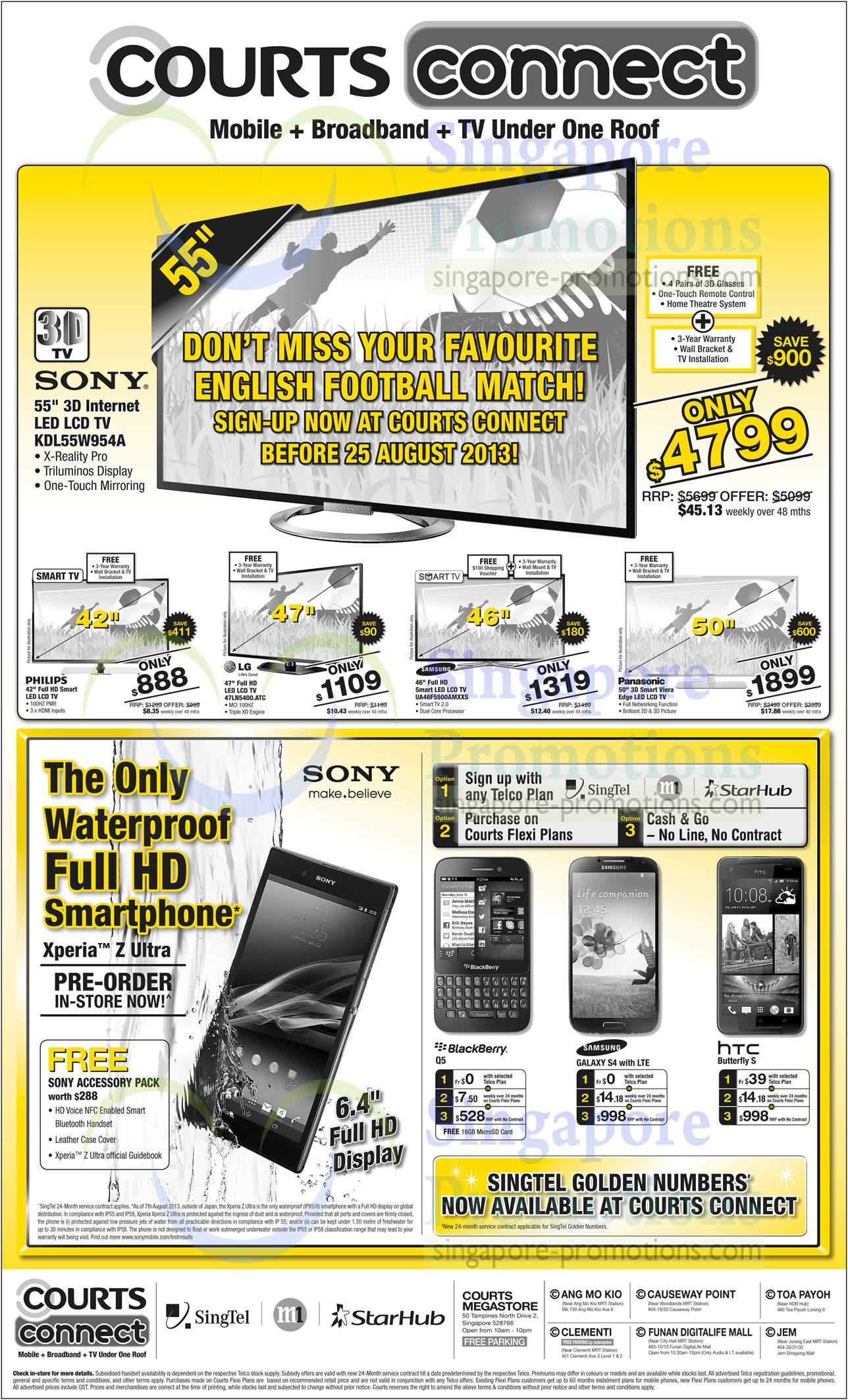 Sony KDL-55W954A TV, LG 47LN5400ATC TV, Samsung UA46F5500AMXXS TV, BlackBerry Q5, Samsung Galaxy S4 and HTC Butterfly S