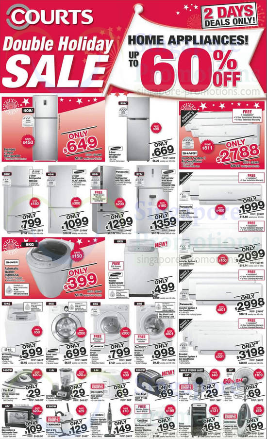 Samsung RT32FAR Fridge, Samsung RL4013UBASL Fridge, Panasonic NRBY602XSSG Fridge, Samsung RT5982BTBSL Fridge, Sharp ESR90GSA Washer, Samsung WA85F5S3QRY Washer, LG WFT1001 Washer, Samsung WF1804WPC Washer, Candy GOW485 Washer, Philips HD3018 Rice Cooker, Tefal TT5500 Toaster, Bosch BBHMOVE2 Vacuum Cleaner, Brother AS2730S Sewing Machine, Sona S09 Fan and Honeywell CS10XE Air Cooler