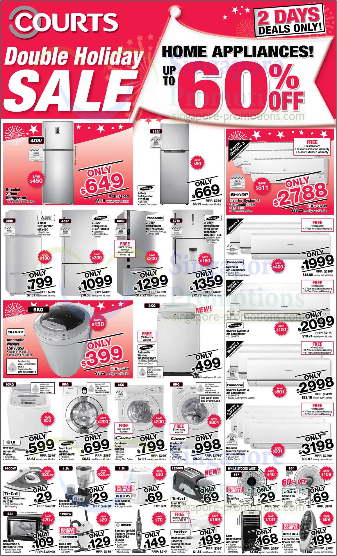 Samsung RT32FAR Fridge, Samsung RL4013UBASL Fridge, Panasonic NRBY602XSSG Fridge, Samsung RT5982BTBSL Fridge, Sharp ESR90GSA Washer, Samsung WA85F5S3QRY Washer, LG WFT1001 Washer, Samsung WF1804WPC Washer, Candy GOW485 Washer, Philips HD3018 Rice Cooker, Tefal TT5500 Toaster, Bosch BBHMOVE2 Vacuum Cleaner, Brother AS2730S Sewing Machine, Sona S09 Fan and Honeywell CS10XE Air Cooler