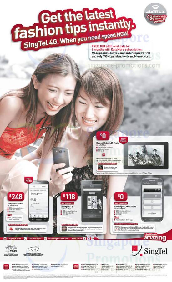 Huawei Mediapad 7 Youth, LG Optimus G Pro, Sony Xperia Z, Samsung Galaxy S III LTE