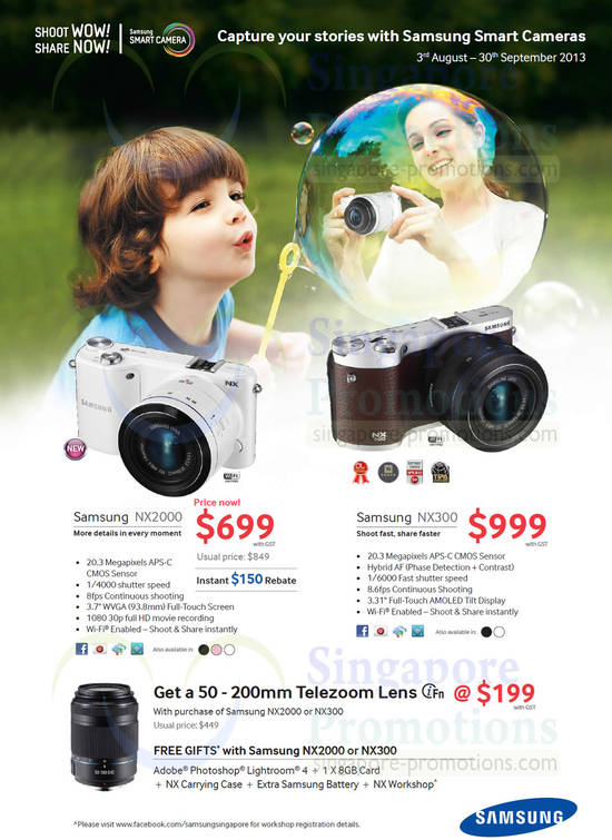 Samsung NX2000 Digital Camera and Samsung NX300 Digital Camera