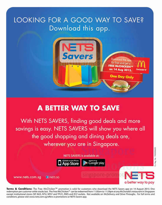 Nets Savers App, Free McDonalds McChicken