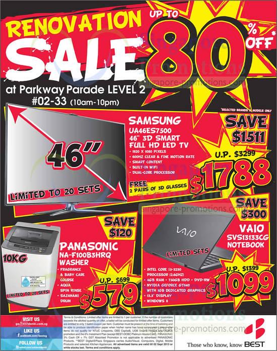 SAMSUNG UA46ES7500 TV, PANASONIC NA-F100B3HRQ WASHER and Sony VAIO SVS13133CG NOTEBOOK