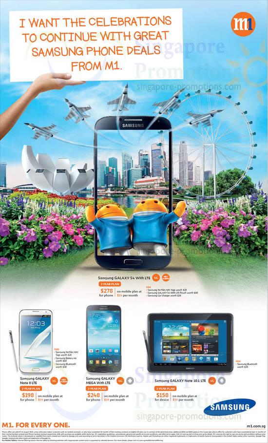 Samsung Galaxy S4, Samsung Galaxy Note II LTE, Samsung Galaxy Mega, Samsung Galaxy Note 10.1 LTE