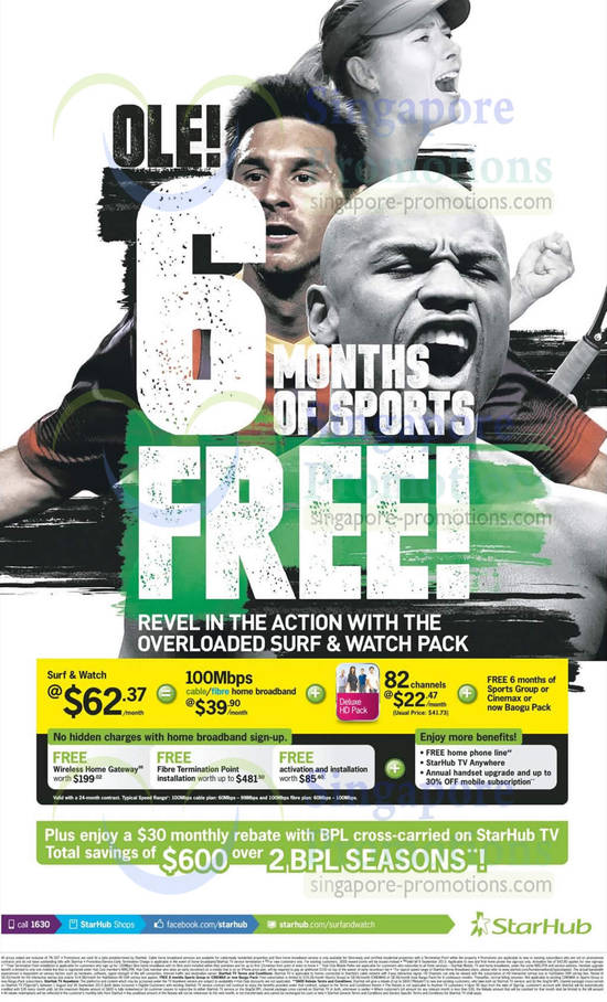 Surf n Watch 25Mbps Cable Broadband, 100Mbps Fibre Cable Broadband, Deluxe HD Pack, Fixed Line, Free 6 Months Sports Group, Cinemax, Baogu Pack