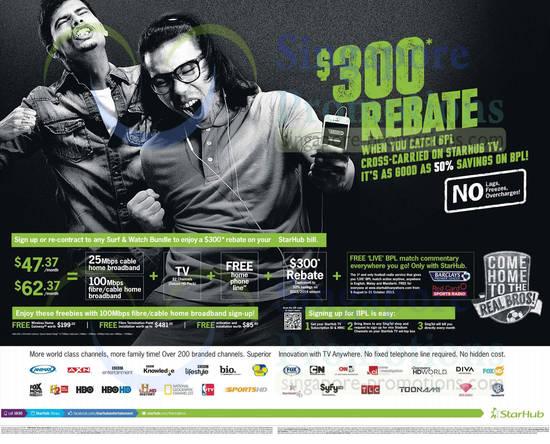 Surf n Watch Bundle, 25Mbps Cable Broadband, 100Mbps Fibre Cable, 300 Dollar Rebate