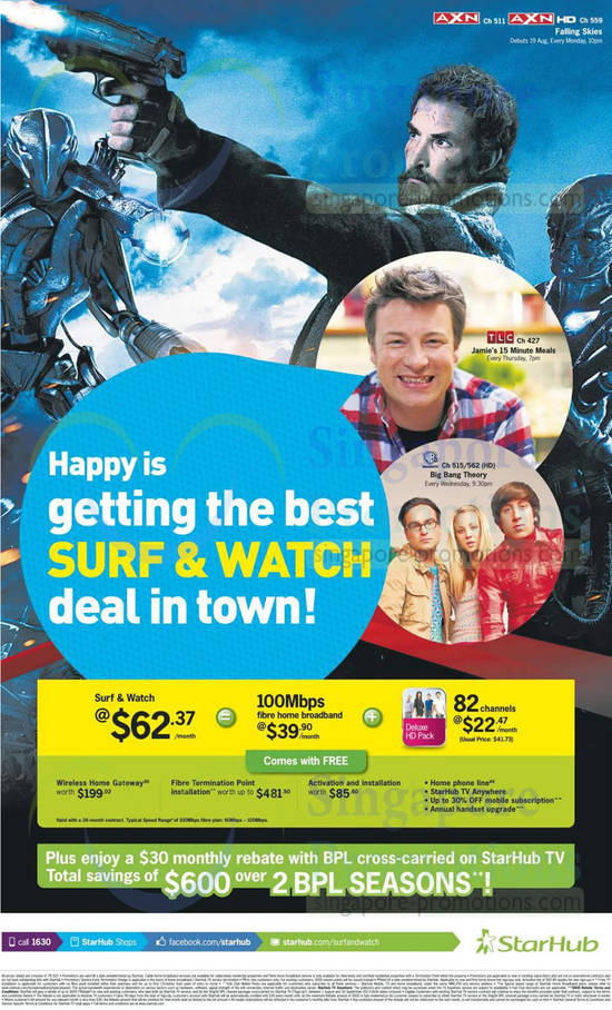 Surf n Watch Cable TV Deluxe HD Pack, 100Mbps Fibre Broadband, 30 Dollar Monthly Rebate With BPL Cross Carried