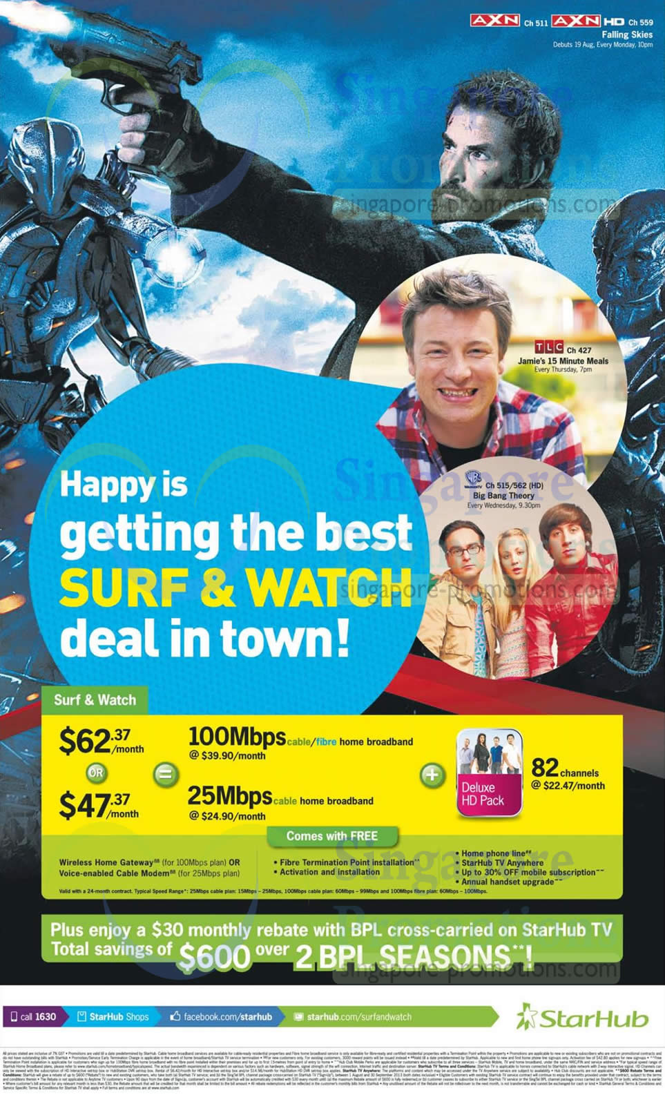 Surf n Watch Fibre Broadband, Cable Broadband From 62.37, Deluxe HD Pack, 600 BPL Rebate