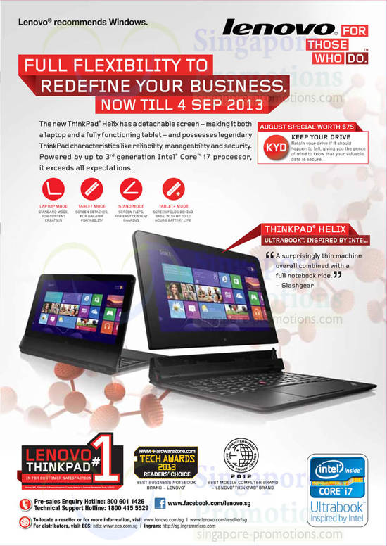 Thinkpad Helix Ultrabook Features