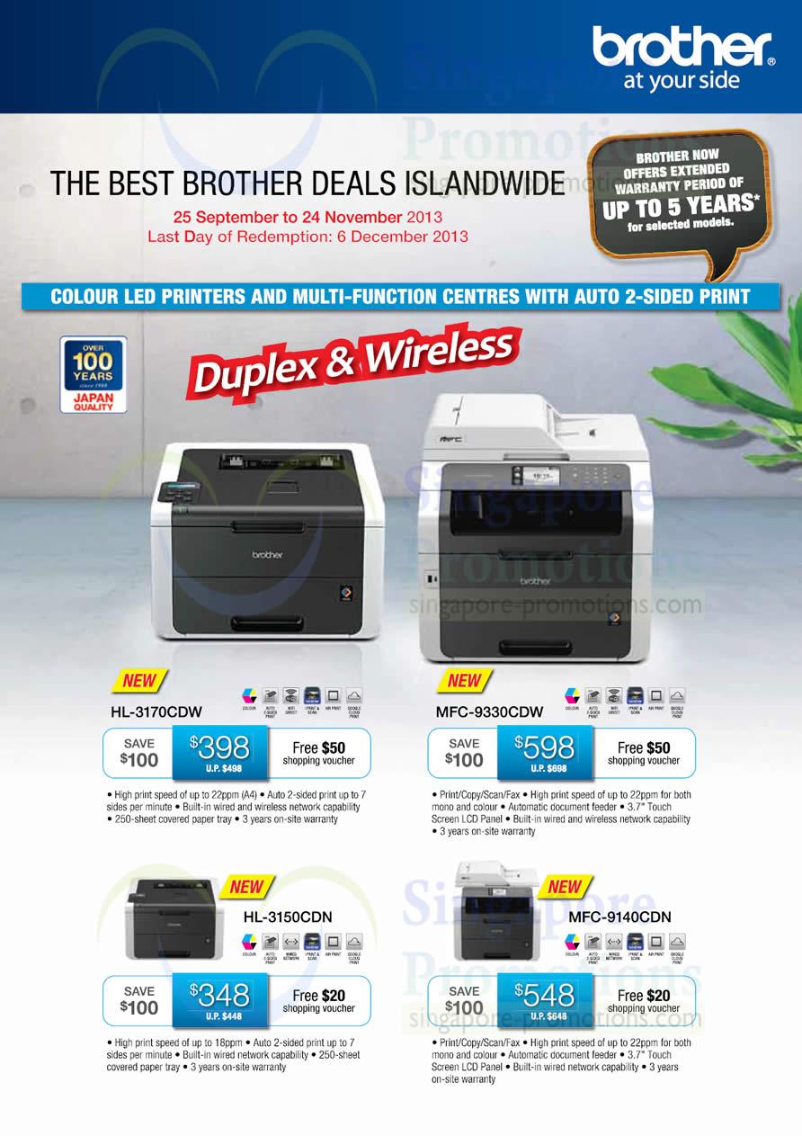 Brother HL-3170CDW Printer, Brother MFC-9330CDW Printer, Brother HL-3150CDN Printer and Brother MFC-9140CDN Printer