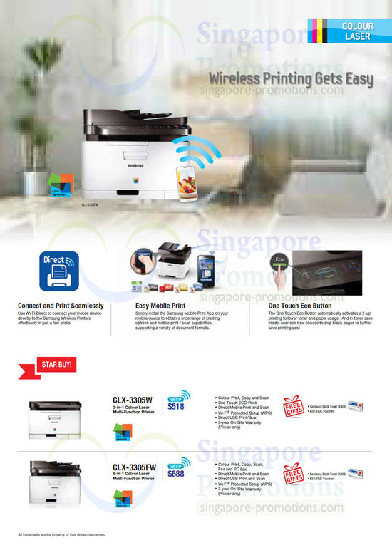 Samsung CLX-3305W Printer and Samsung CLX-3305FW Printer