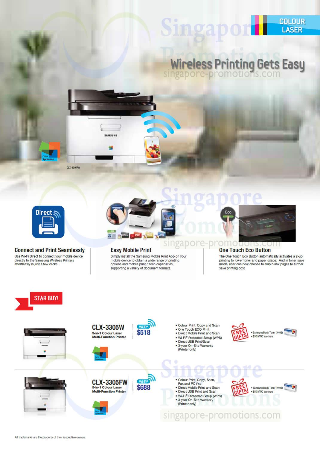 Samsung CLX-3305W Printer and Samsung CLX-3305FW Printer