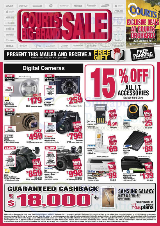 Samsung EC-WB30 Digital Camera, SONY DSC-WX300 Digital Camera, Canon Powershot G1X Digital Camera, Nikon D3200 DSLR Digital Camera and Philips SPA2210 Speakers