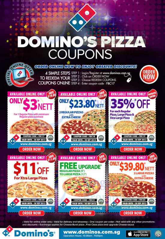 Discount coupon codes for dominos pizza