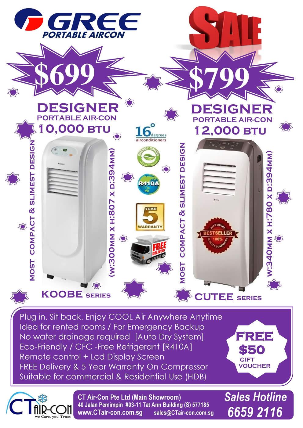 Gree Designer Portable Air Conditioner, Cutee, Koobe