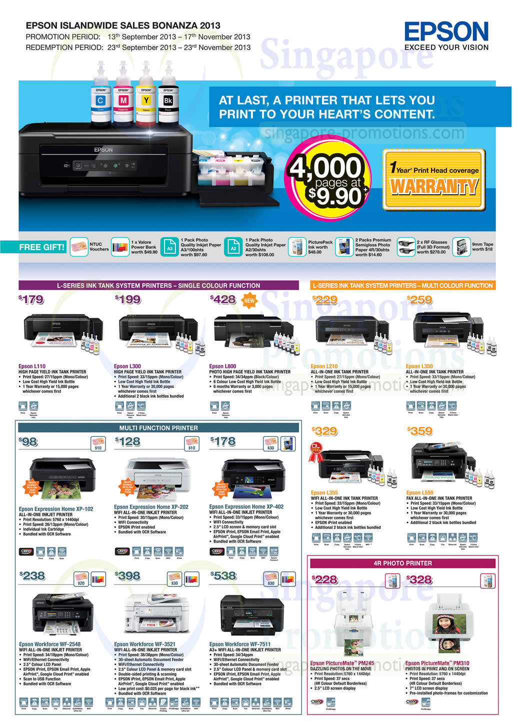 L Series Printers, Ink Tank, Multi Function, 4R Photo Printers, PictureMate listed are Epson XP-30 Printer, Epson T60 Printer, Epson T1100 Printer, Epson 1390 Printer, Epson WF-7011 Printer, Epson V33 Scanner, Epson V370 Scanner, Epson V600 Scanner, Epson V700 Scanner, Epson M1400 Printer, Epson C1700 Printer, Epson MX14 Printer, Epson MX14NF Printer and Epson CX17NF PrinterAlso listed are Epson R2000 Printer, Epson R3000 Printer, Epson 3885 Printer, Epson EB-S12 Projector, Epson EB-X12 Projector, Epson EB-W12 Projector, Epson EB-1751 Projector, Epson LW-300 Labeller, Epson LW-400 Labeller, Epson EB-1761 Projector, Epson EB-1776W Projector and Epson TW550 Projector